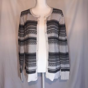 XL, Woman's Cardigan, Sweater Black & White Stripe